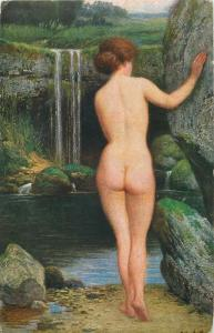 Early art postcard nude in paintings O. Herrfurth  - At the source