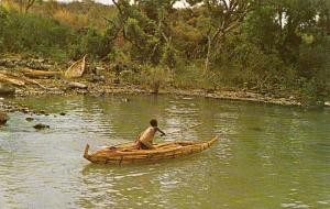 Ethiopia fisherman and his Tangua reed canoe at lake Tana source of the Nile