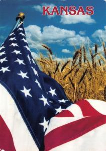 Postcard FLAG Kansas America Stars & Stripes in Field of Golden Wheat