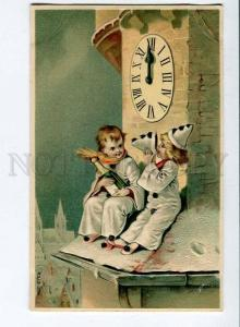 258438 NEW YEAR PIERROT CLOCK Vintage embossed RPPC