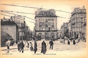 Brest France La Place des Portes Street View Trolley Store Fronts Postcard