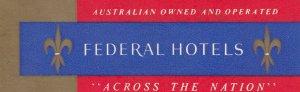 Australia Federal Hotels Vintage Luggage Label sk3761