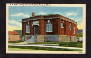ME Vintage B H Bartol Library Carnegie Bldg Freeport Maine Linen Postcard PC