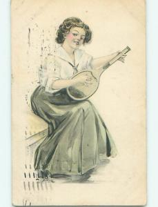 Divided-Back art nouveau music WOMAN PLAYS MANDOLIN GUITAR r2613