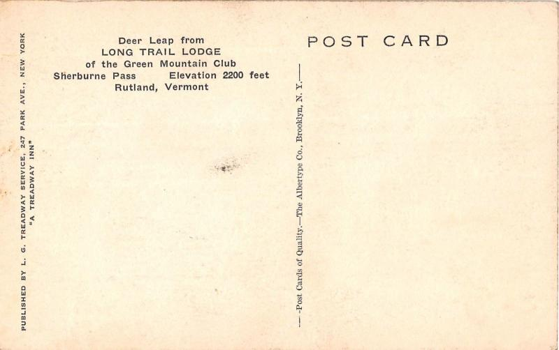 RUTLAND VERMONT LONG TRAIL LODGE~DEER LEAP~SIGN MOUNTED W/ LOGS POSTCARD 1930s