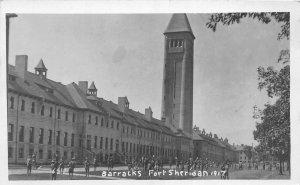 G3/ Fort Sheridan Illinois RPPC Postcard c1920s Barracks Soldiers