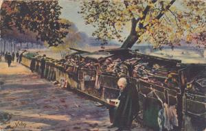 FRANCE, 1900-1910's; Painting, An Old-Book Bookseller on the Voltaire Quay
