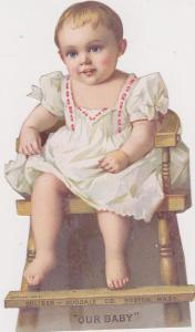 Die-Cut, Baby Girl Sitting On Chair, Our Baby, 1894; BOSTON, Massachusetts