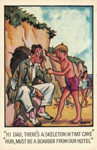 Vintage Comic Saucy Fun Postcard Hi Dad, there's a Skeleton in that Cave AE3