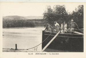 Jordan River Middle East Jerusalem ethnic boat early postcard