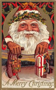 LP23  Santa Claus Christmas Holiday postcard Great Face Brown Gloves embossed