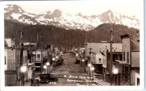 RPPC  CORDOVA, Alaska  AK   A June Midnight  1936 STREET SCENE  Roark Postcard