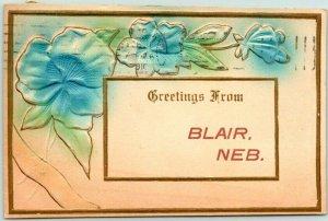 BLAIR Nebraska Embossed Greetings Postcard / Air-Brushed Blue Flowers - 1911