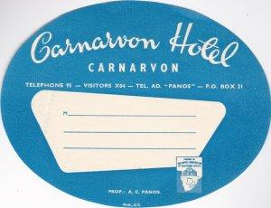 South Africa Carnarvon The Carnarvon Hotel Vintage Luggage Label lbl0504