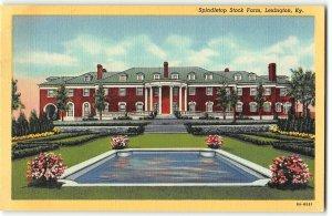 Spindletop Stock Farm, Lexington, Kentucky - 1938 Teich Linen Postcard