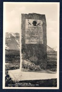 Amundsen Memorial Stone Spitzbergen Norway RPPC unused c1925