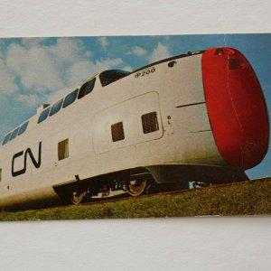 CN Turbo Train Montreal , Toronto Canada Vintage 3 x 7 Postcard