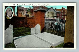 Philadelphia PA-Pennsylvania Benjamin Franklin's Grave Vintage Postcard