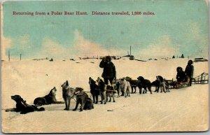 Vintage Alaska Postcard Returning from a Polar Bear Hunt c1910s UNUSED