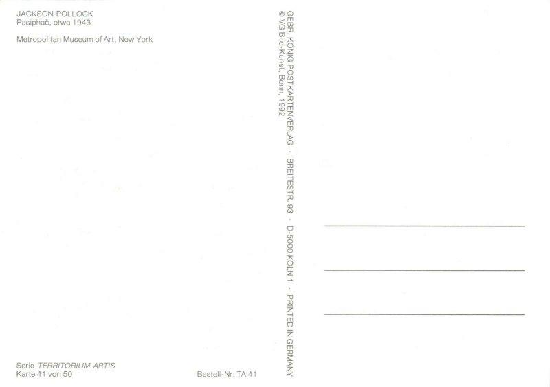 Art Postcard, Pasiphac etwa (1943) by Jackson Pollock, Abstract Art AT6