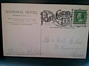 Postcard   National Hotel, Washington DC, Capitol in View   1911   Z3