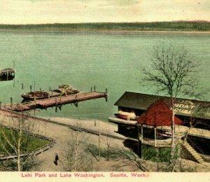 Leschi Park Boat House Printing Error Seattle Washington WA UDB Postcard UNP