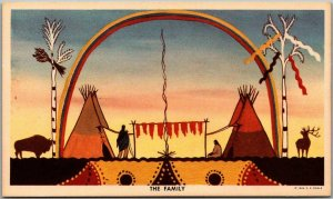 Native Americana Postcard THE FAMILY Published by C.E. Engle c1949 Unused