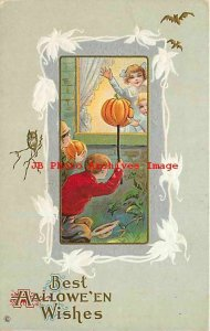 Halloween, Stecher No 345 D, Girls Waving through Window at Boys with JOLs
