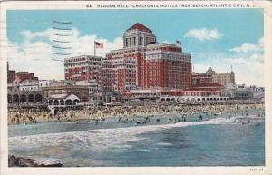 New Jersey Atlantic City Haddon Hall Chalfonte Hotels From Beach From Beach 1935