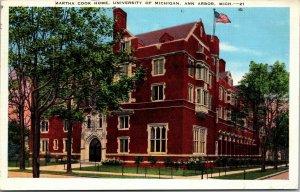 Ann Arbor, MI, Martha Cook Home, University of Michigan, Linen Postcard POSTED