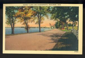 Middleboro, Massachusetts/Mass/MA Postcard, Highway Along Lake Assawampsette