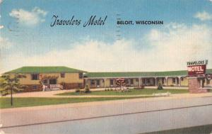 Beloit Wisconsin street scene Travelers Motel courtyard linen antique pc Z47166
