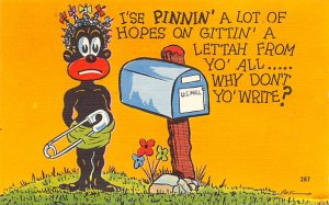 Blacks Post Card Why Don't Yo' Write? Cartoon of Child Next To Mail...
