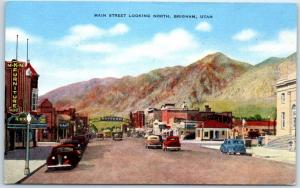 Brigham, Utah Postcard MAIN STREET Looking North Downtown Scene KROPP Linen