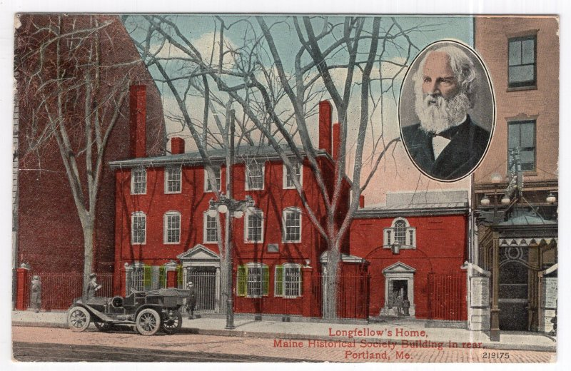Portland, Me., Longfellow's Home, Maine Historical Society Building in rear