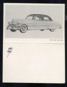 1951 PONTIAC FOUR DOOR HARDTOP VINTAGE CAR DEALER ADVERTISING POSTCARD '51