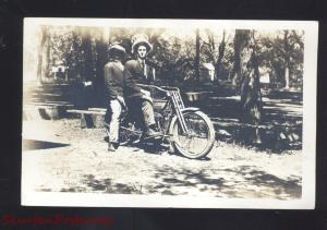 RPPC HARLEY DAVIDSON MOTORCYCLE TANDEM RIDERS VINTAGE REAL PHOTO POSTCARD