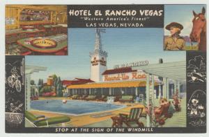 Las Vegas, Nevada Hotel El Rancho Vegas linen 1949 Postcard
