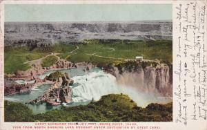 Great Shoshone Falls, View form North showing land brought under cultivation ...