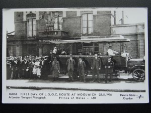 WOOLWICH BUS ROUTE First Day of L.G.O.C. PRINCE of WALES RP Postcard by Pamlin