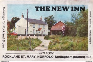 The New Inn Rockland St Mary Pub Norwich Norwich Old Matchbox Label