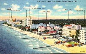 Florida Miami Beach Ocean Front Hotels Curteich