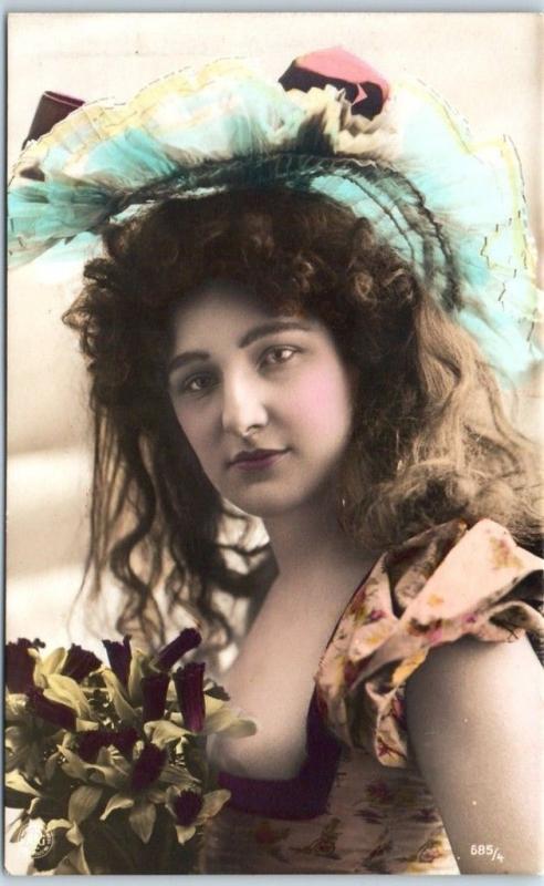 Vintage RPPC Real Photo Postcard Pretty Lady Crazy Hat Fashion c1910s Unused