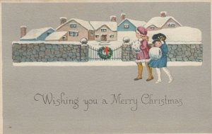 CHRISTMAS, PU-1922; Girls walking in front of gate, holding hand muffs