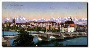 Old Postcard Basel und die Alpen