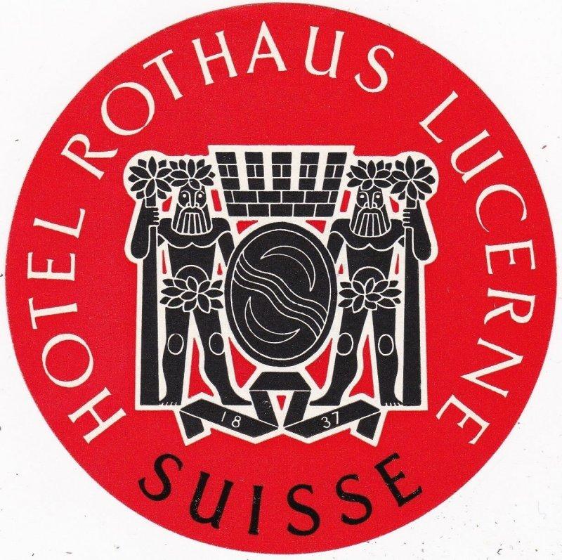 Switzerland Lucerne Hootel Rothaus Vintage Luggage Label sk4148