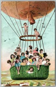 MULTIPLE BABIES FLYING WITH BALLOONS ANTIQUE 1905 POSTCARD w/ CORK CANCEL