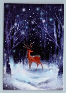 RED DEER in Snow Winter Night Forest Animal Beauty Russian New Postcard