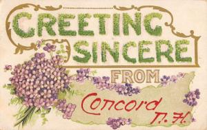 Concord New Hampshire Flower Greeting Antique Postcard K93189