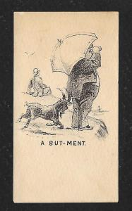 VICTORIAN TRADE CARD Goat Head-butting Man